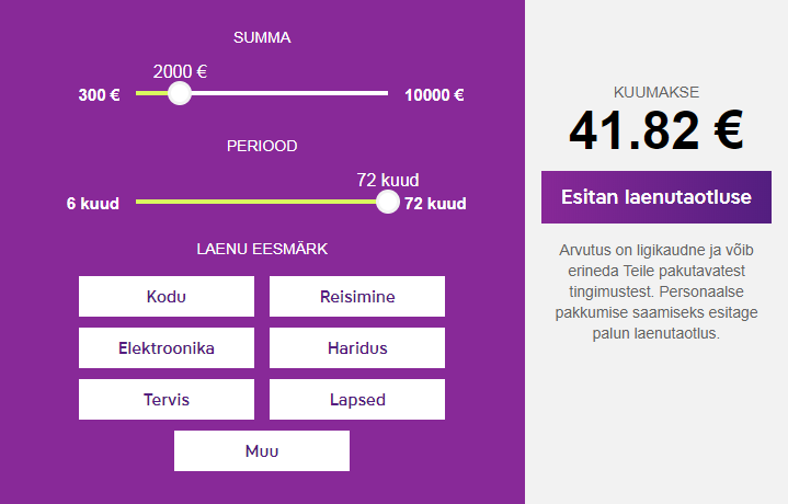 Inbank'i laenukalkulaator